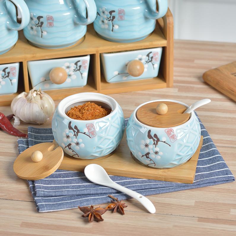 创意日式油壶陶瓷竹木调味罐调味瓶厨房用品六件套调味盒辣椒盐罐