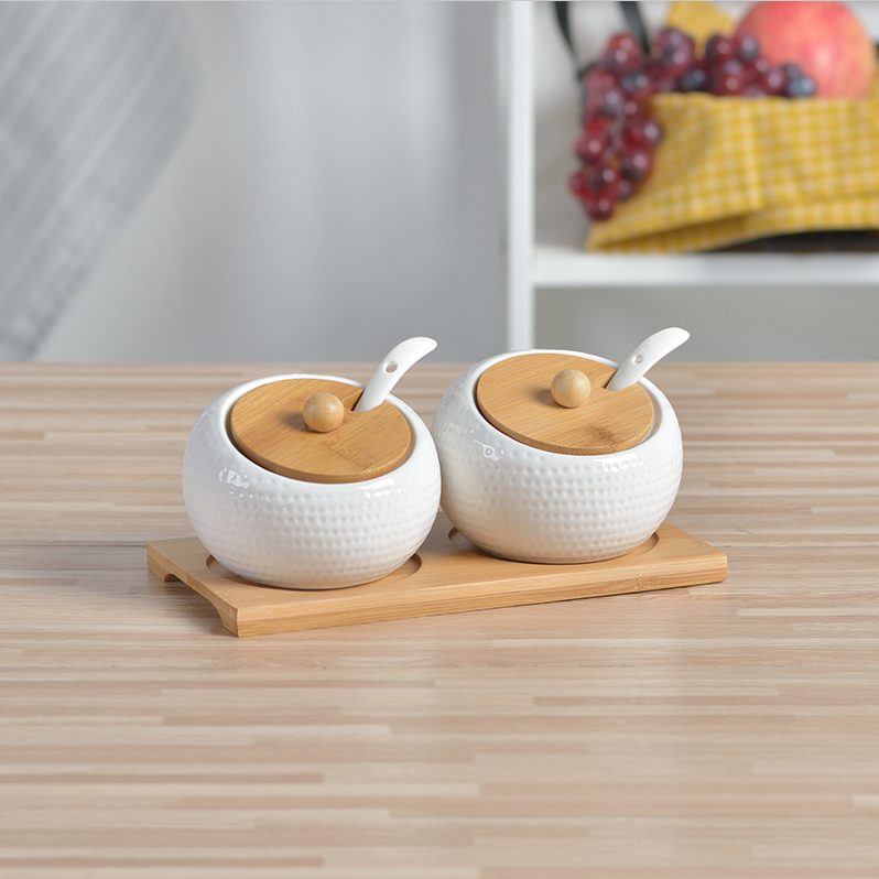 厨房用品高尔夫球面陶瓷竹木木盖调味罐调料瓶调味盒三件套装日式