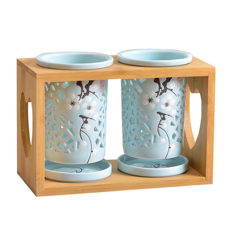 镂空陶瓷筷子筒多孔沥水中国风双筒防霉笼家用餐具筷筒桶筷架厨房
