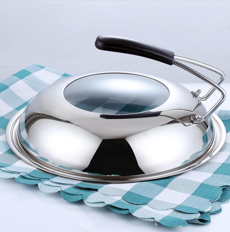 精品可立不锈钢锅盖加厚防烫手柄一体式锅盖32cm34cm36cm可视锅盖