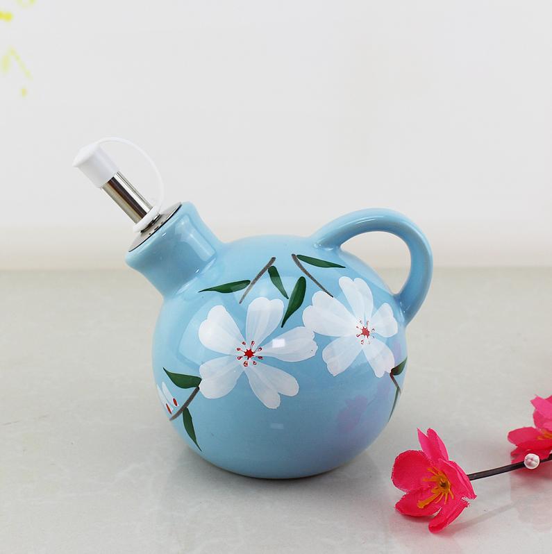 包邮手绘陶瓷油壶防漏油醋壶调味瓶酱油瓶醋瓶创意欧式厨房用品